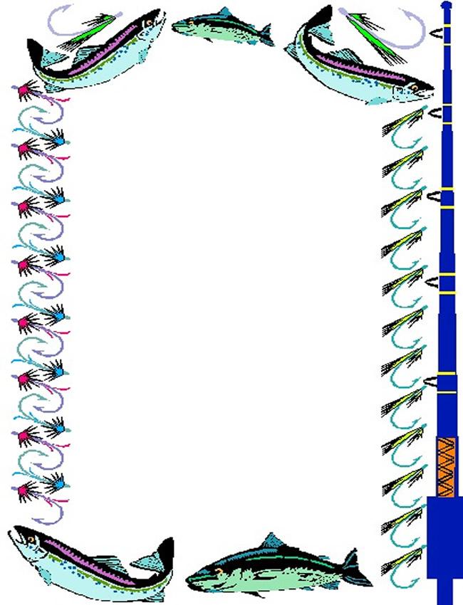 Fishing Page Border Clip Art free image.