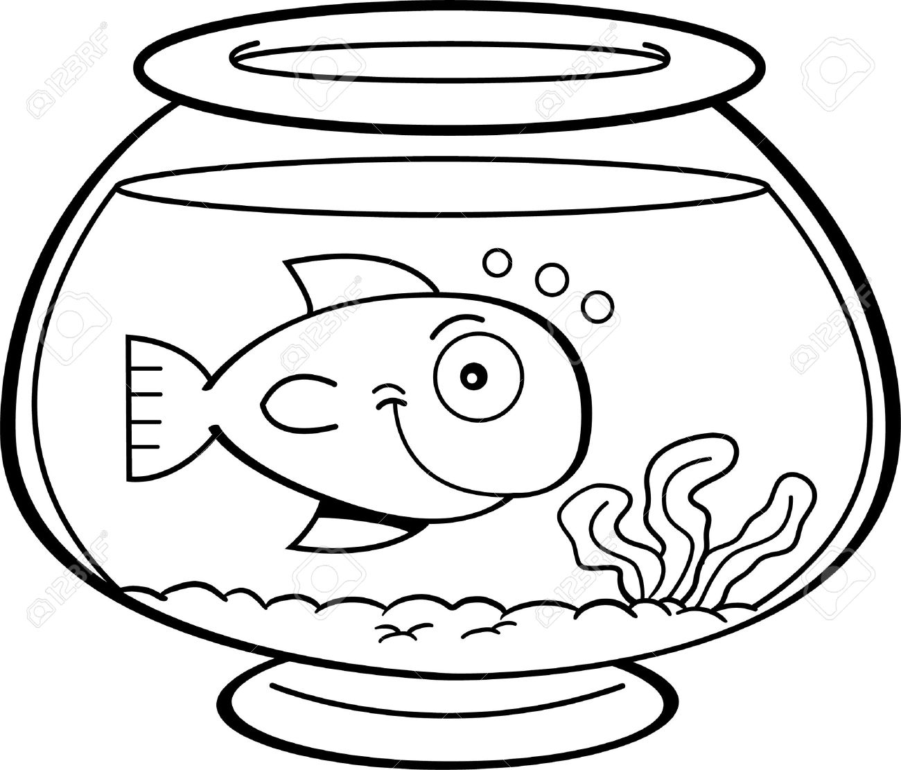 Black and white illustration of a fish in a fish bowl.