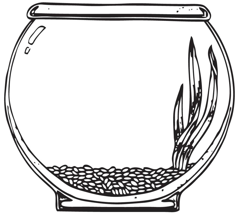 Fish Bowl Clipart Coloring Page Pencil And In Color Within Black.