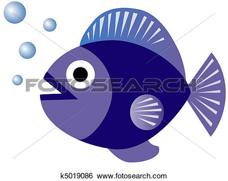 Stock Illustration of Chubby Blue Fish Blowing Bubbles k5019086.