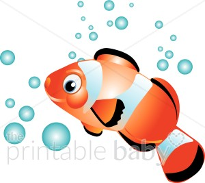 Clownfish in Bubbles Clipart.
