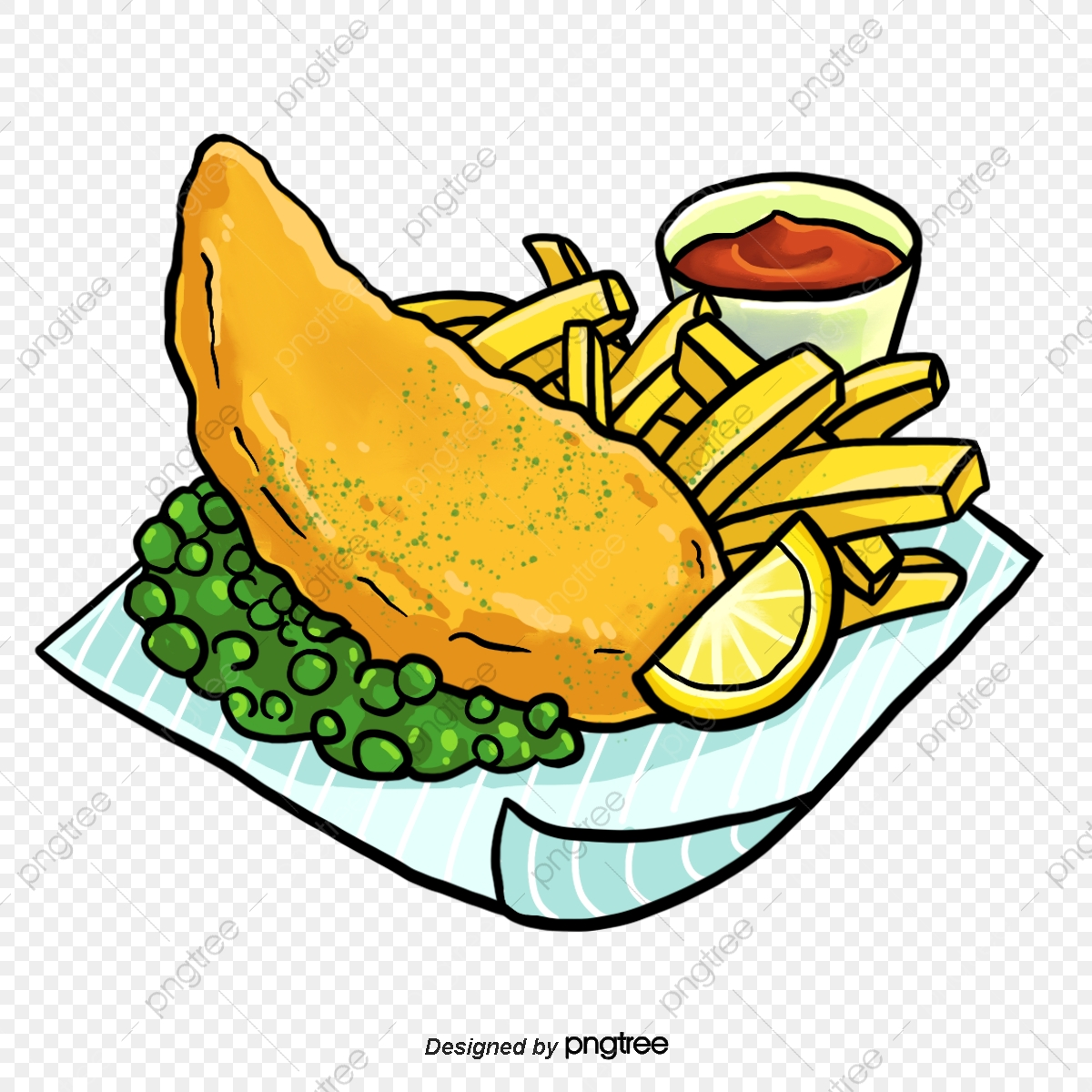 Hand Painted English Fish And Chips, Hand Drawn Style, Lemon, Fried.