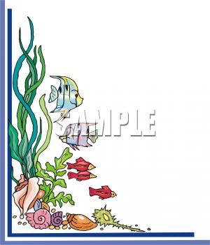 Royalty Free Clip Art Image: Border of fish and Seashells.