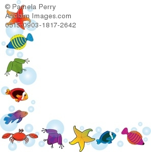 Clip Art Illustration of a Tropical Fish and Friends Border.