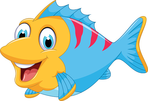 Tropical Fish clipart smiling fish Pencil and in color.