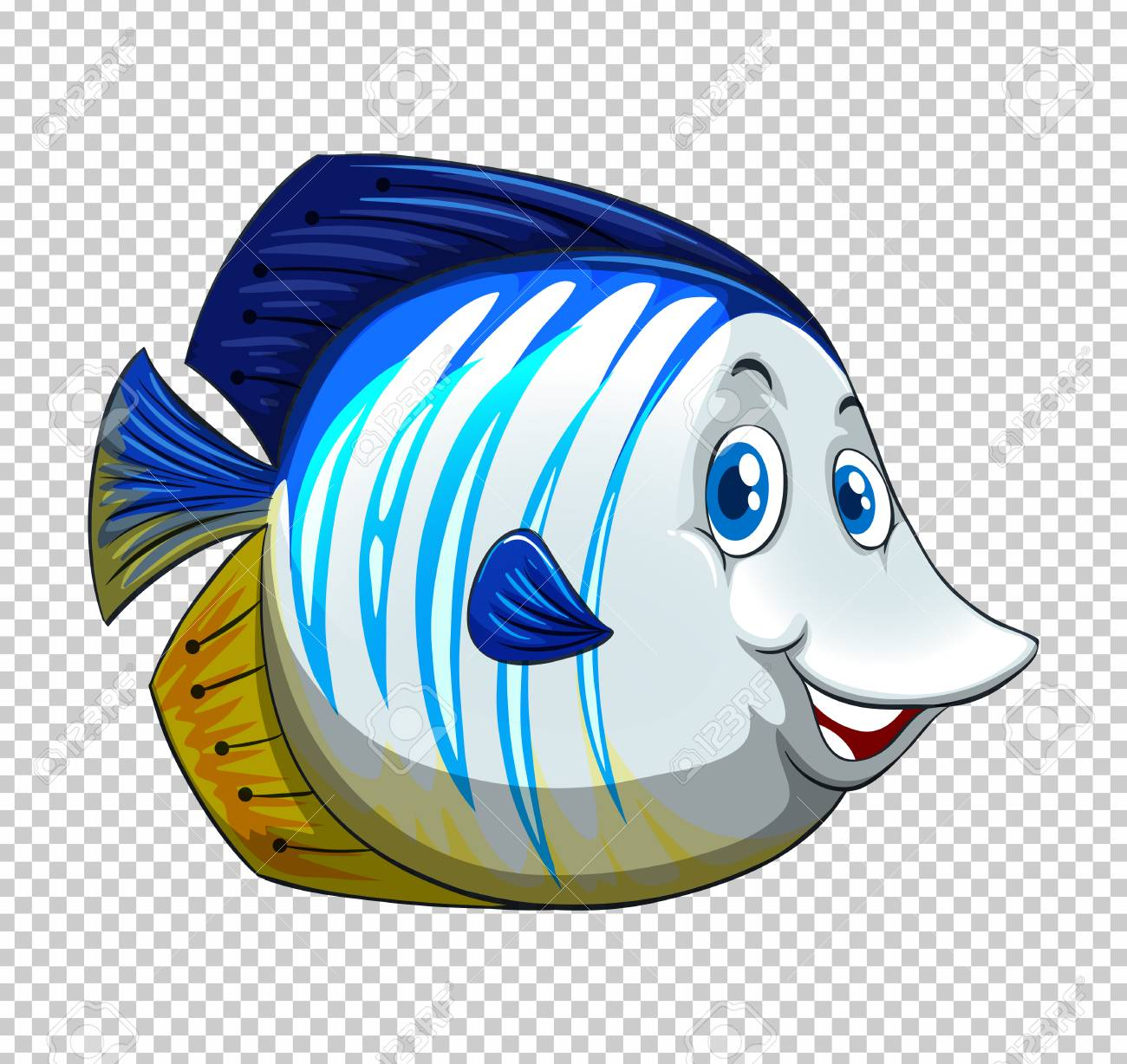 Blue fish on transparent background illustration.