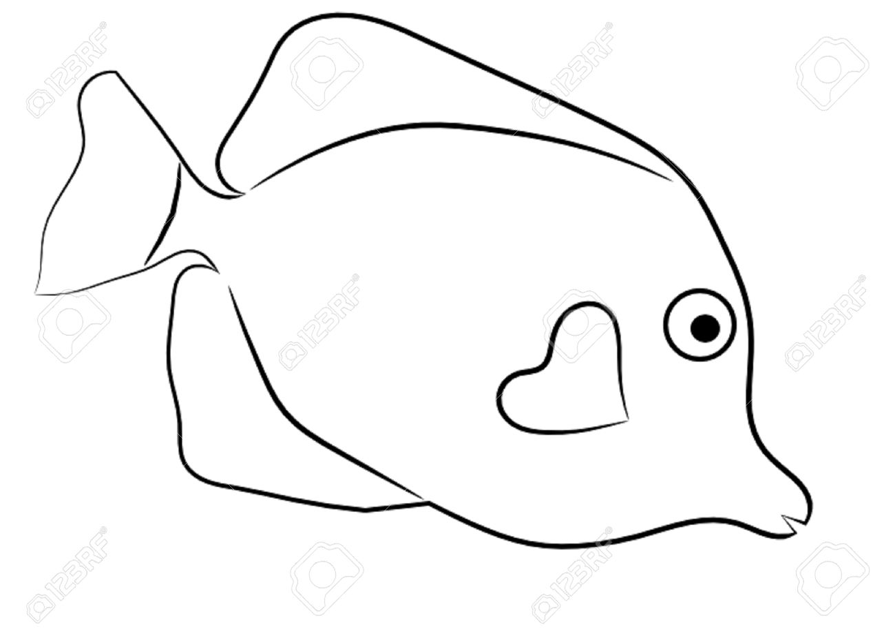 Fish Outline Clipart Black And White.