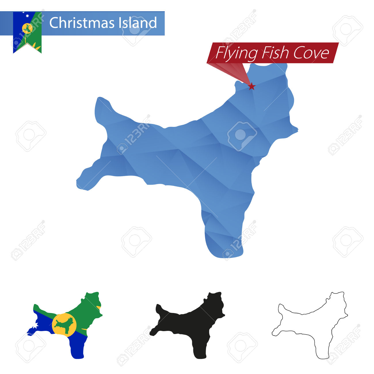 Christmas Island Blue Low Poly Map With Capital Flying Fish Cove.