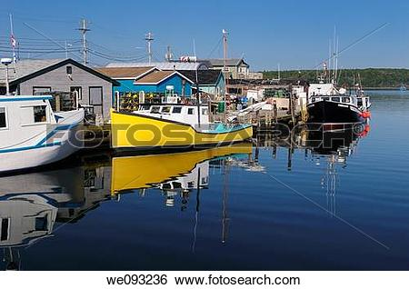 Stock Images of Fishing boats and lobster traps at Fishermans Cove.