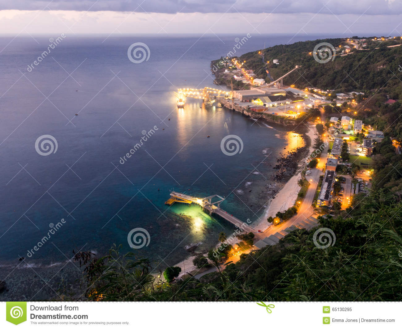 Flying Fish Cove At Night, Christmas Island, Australia Stock Photo.