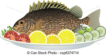 Clipart Vector of fish and vegetables on a plate.