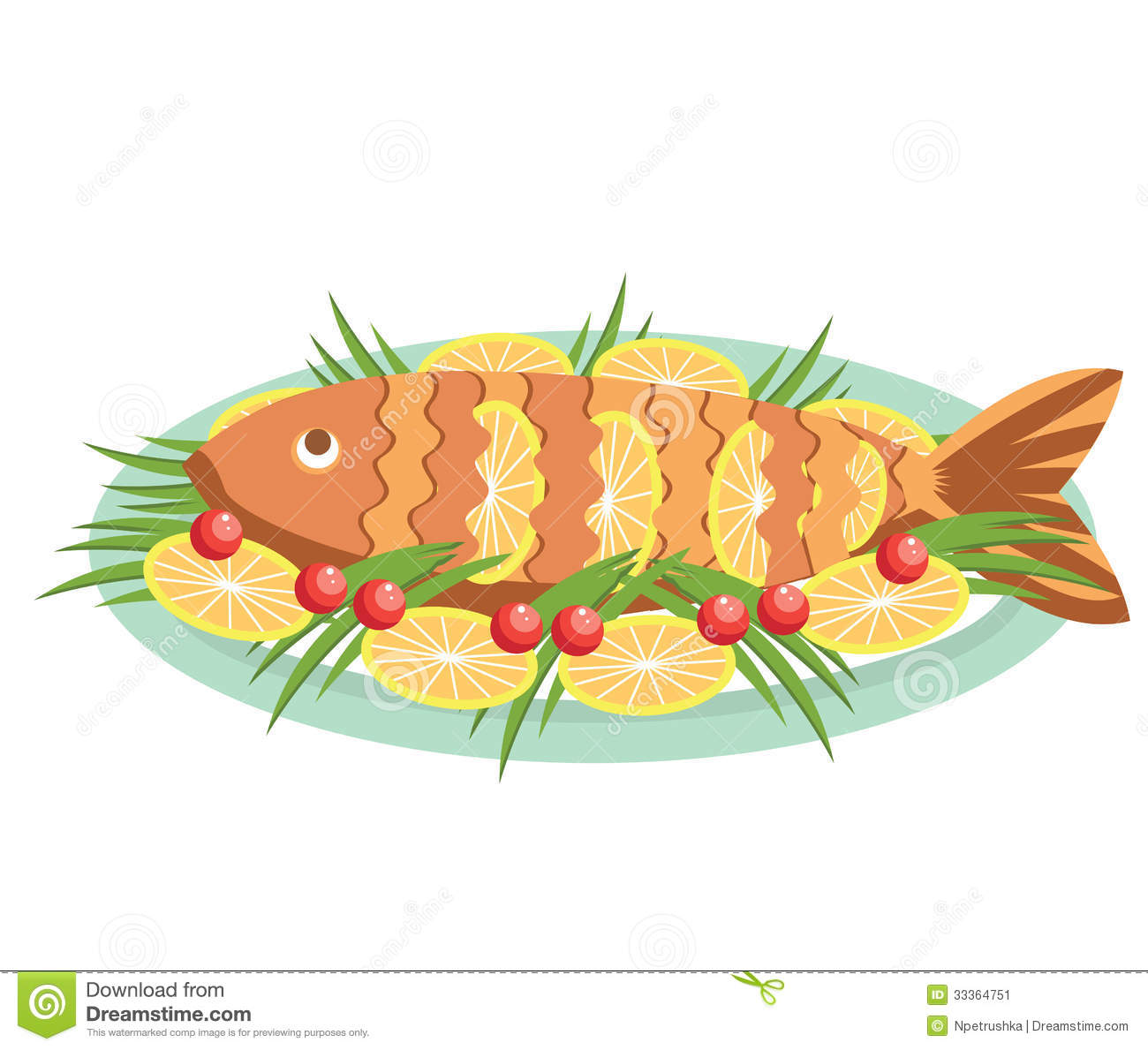 Cooked Fish Plate Stock Illustrations.