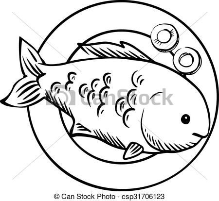 Vector Illustration of Seafood dish with grilled ocean fish.
