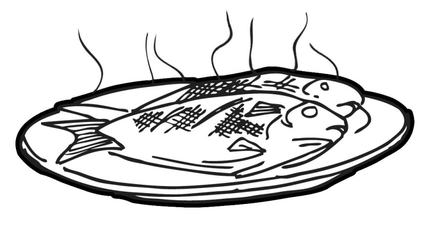 Clipart a fish cooking food.