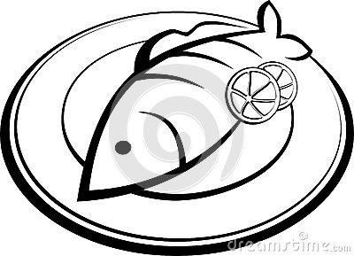 Fish On Plate Clipart.