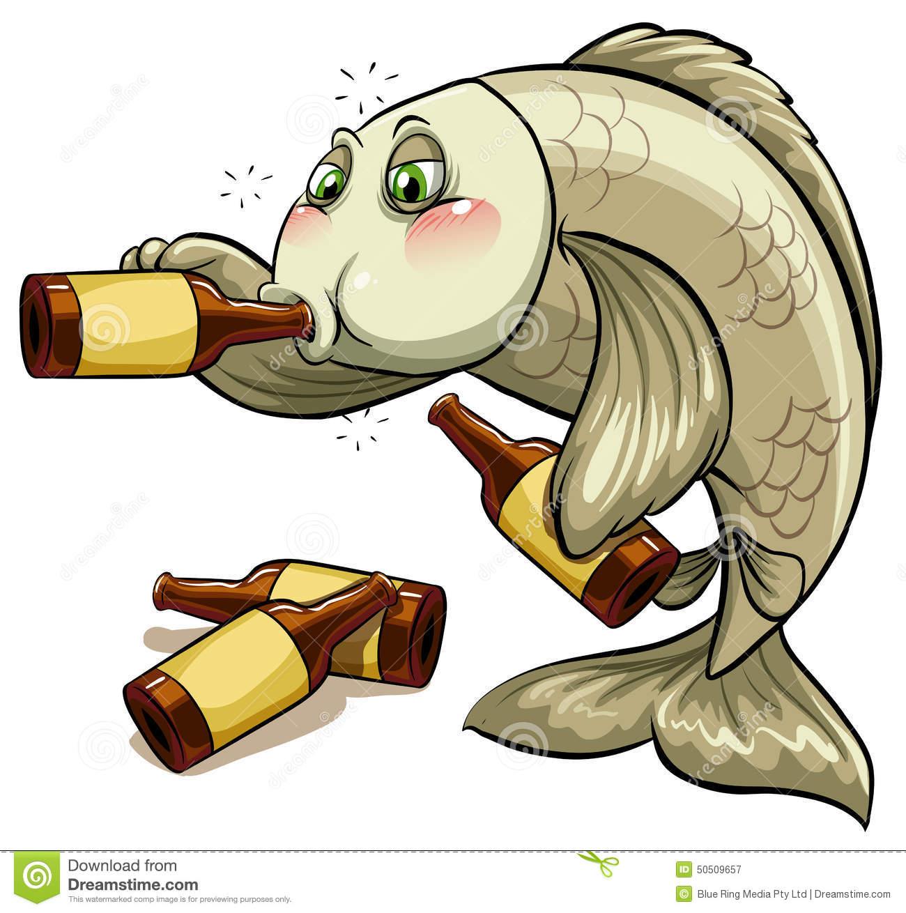 Drunk Fish Stock Illustrations.