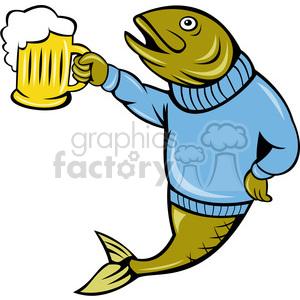 fish holding a beer mug clipart. Royalty.