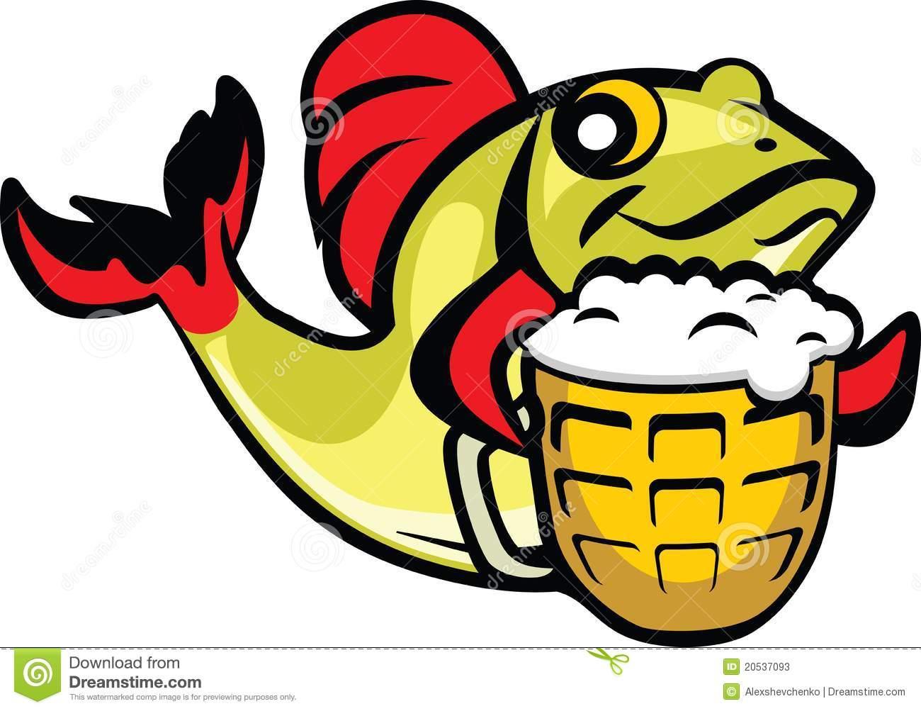Beer Fish stock vector. Illustration of green, cheers.