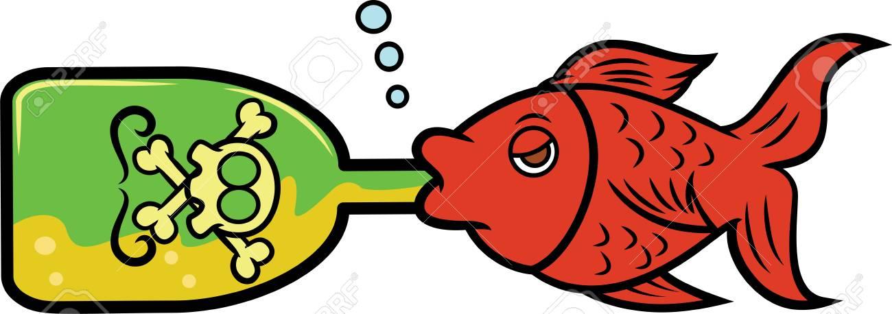Fish Drinking Alcohol from Bottle Cartoon Illustration.