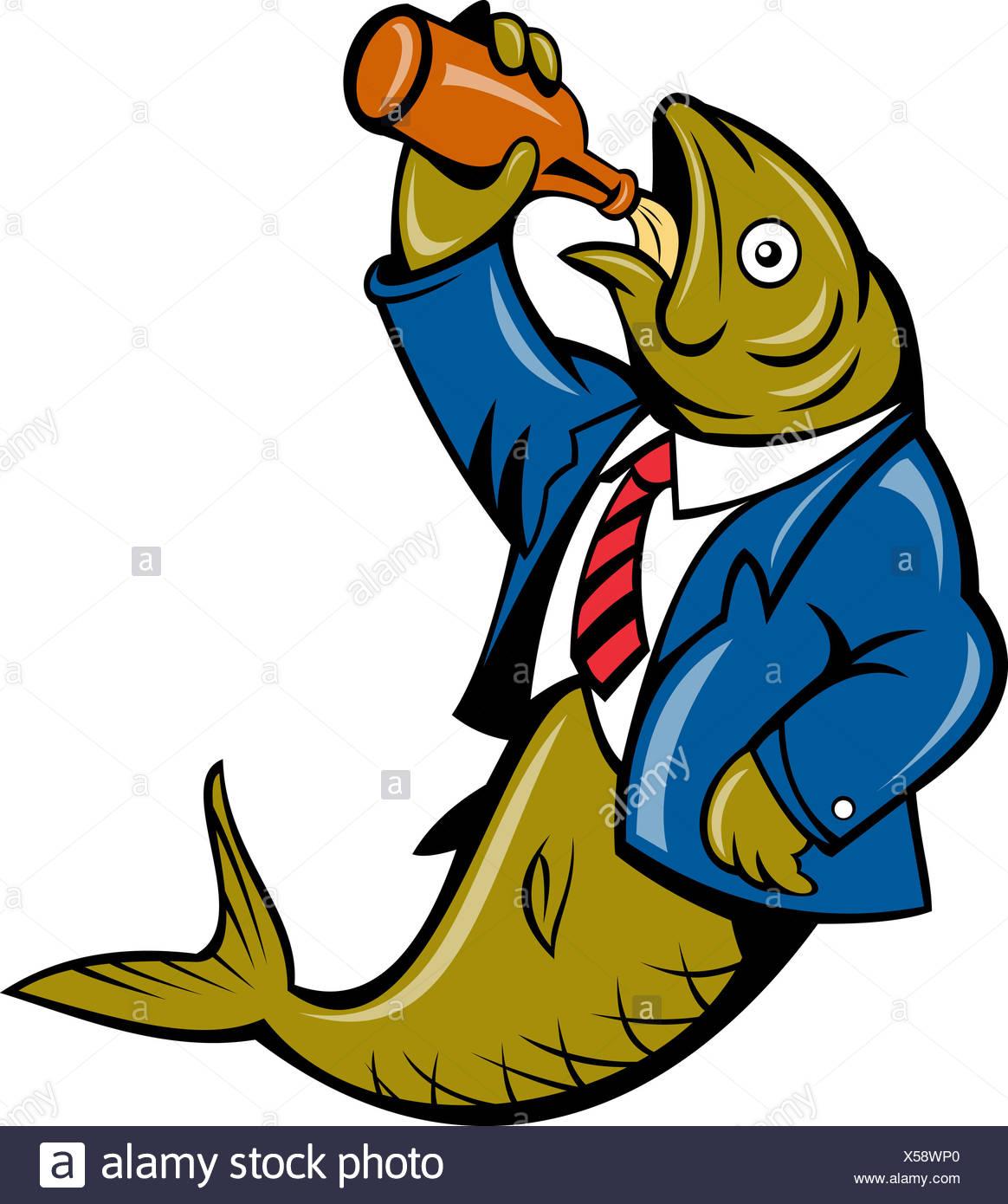 Herring fish business suit drinking beer bottle Stock Photo.