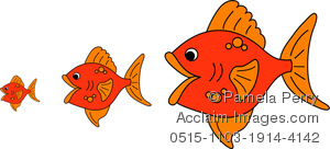 Clip Art Image of a Big Fish Eating Little Fish.