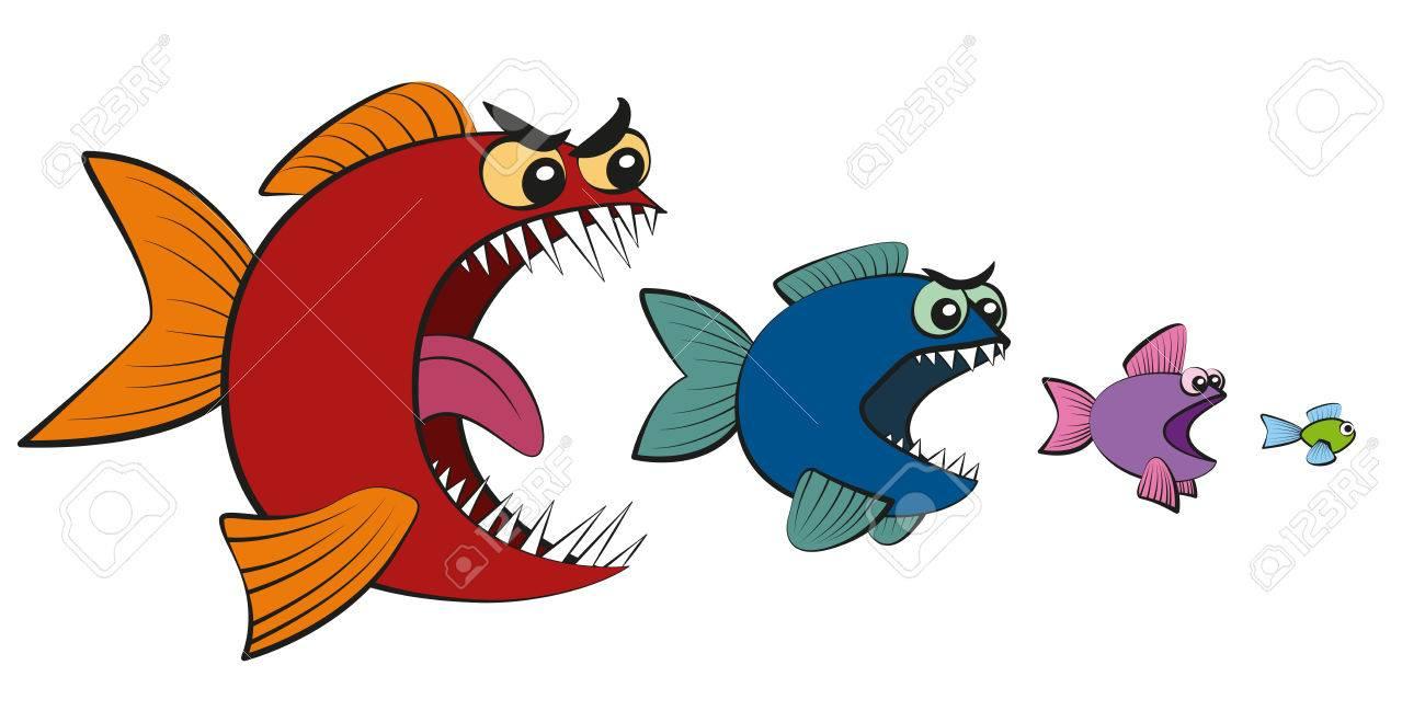 Big fish eating little fish.