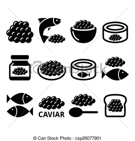 Vector Clipart of Caviar, roe, fish eggs icons set.