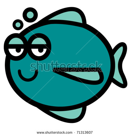 Fish With Happy Face Blowing Bubbles. Stock Vector Illustration.