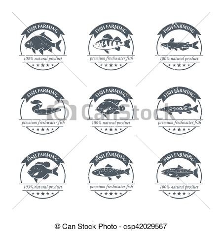 Clip Art Vector of Perfect set of fish farming logos. Freshwater.