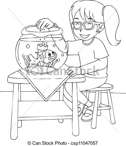 Clipart Vector of Girl With Goldfish Colouring Page.