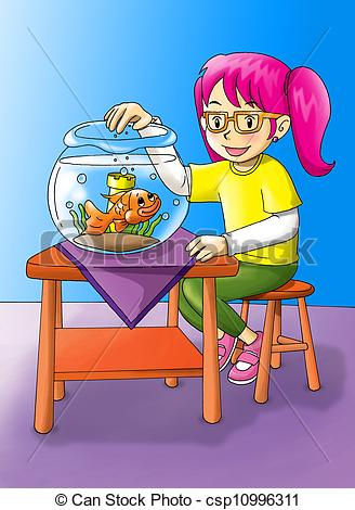 Clipart of Girl With Goldfish.