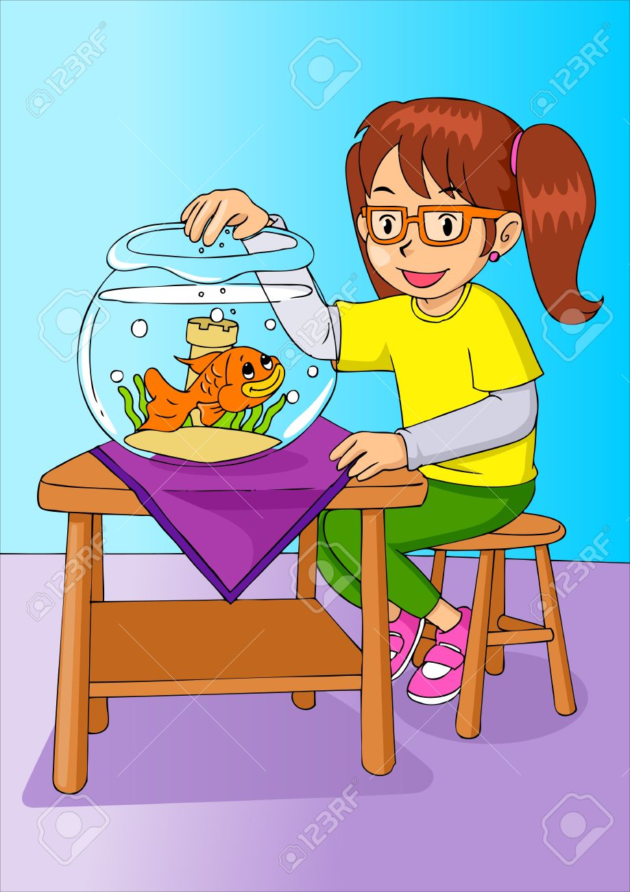 Cartoon Illustration Of A Girl Was Feeding The Goldfish Royalty.