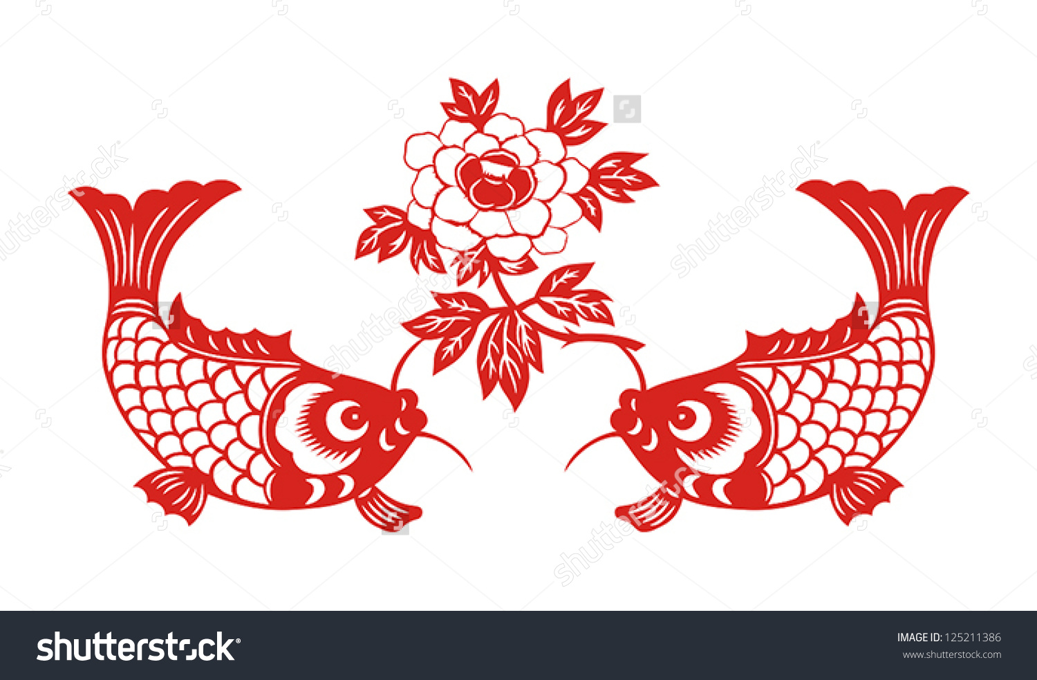 auspicious double fish symbol chinese new stock vector 125211386