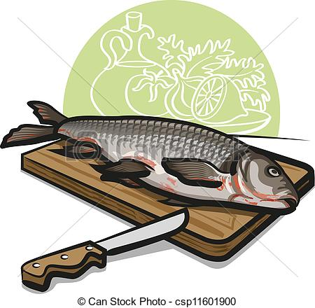 Vector Clipart of fresh raw fish csp11601900.