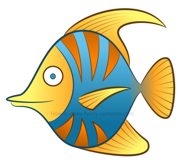 How to draw a tropical fish clipart.