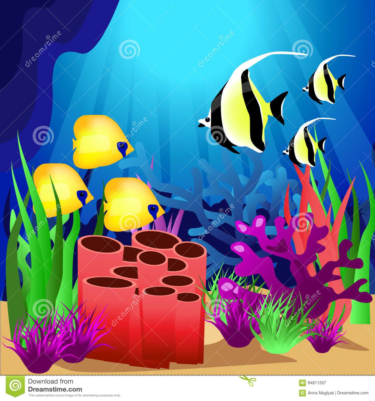 Scene With Fish Under The Ocean Stock Vector.