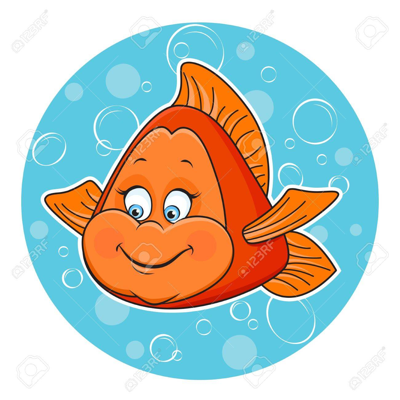Illustration of fun Golden fish in the water.