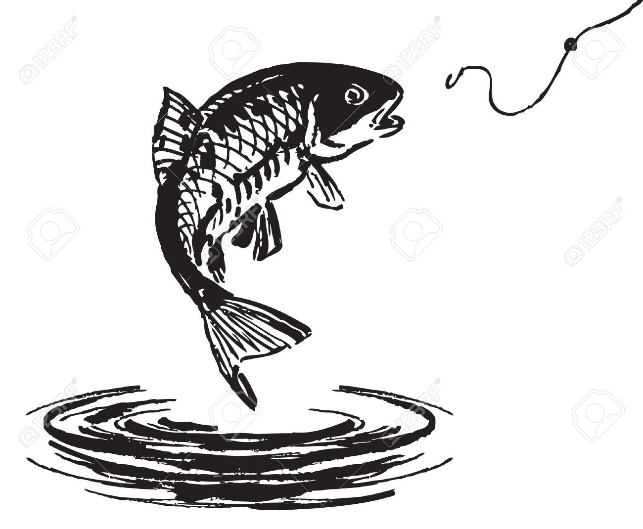 Fish jumping out of the water. Vector illustration..