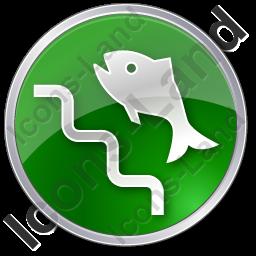 Fish Ladder Circle Green Icon, PNG/ICO Icons, 256x256, 128x128.