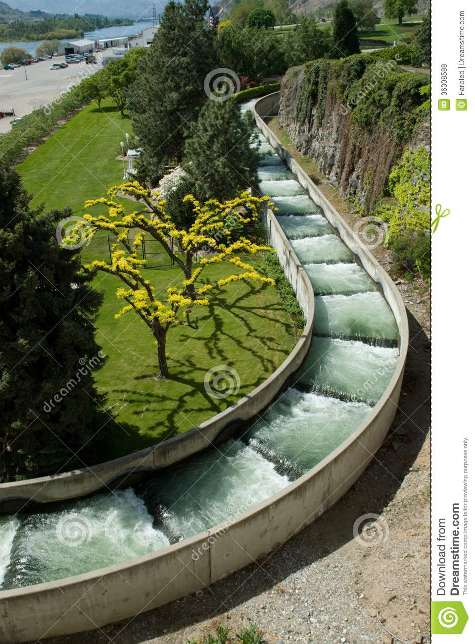 Fish Ladder Around A Hydroelectric Dam Royalty Free Stock Photos.