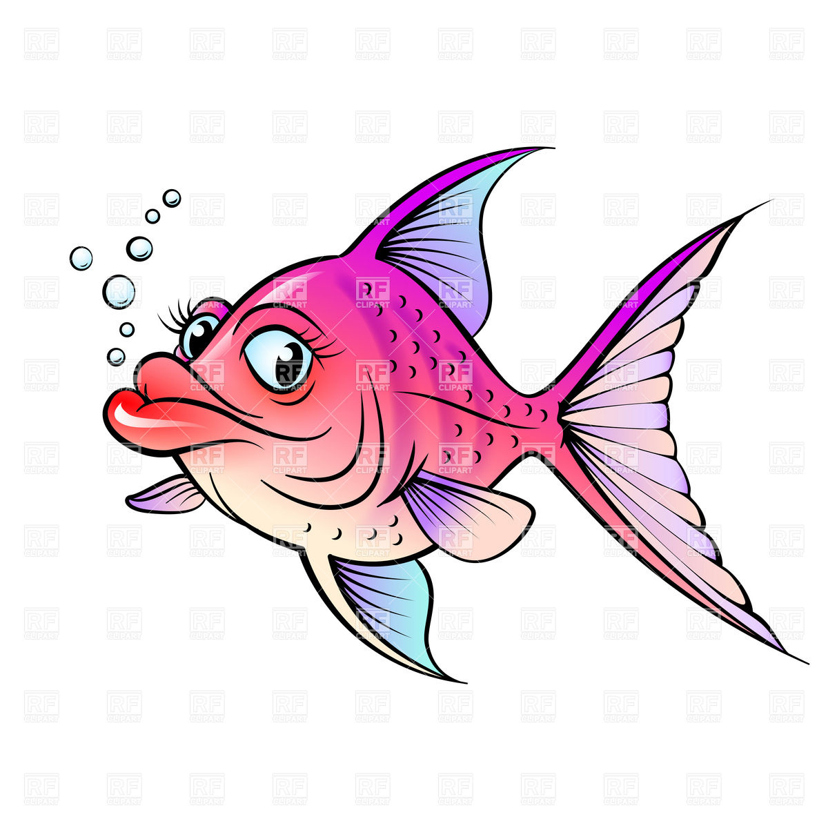 Cartoon fish with big lips Stock Vector Image.