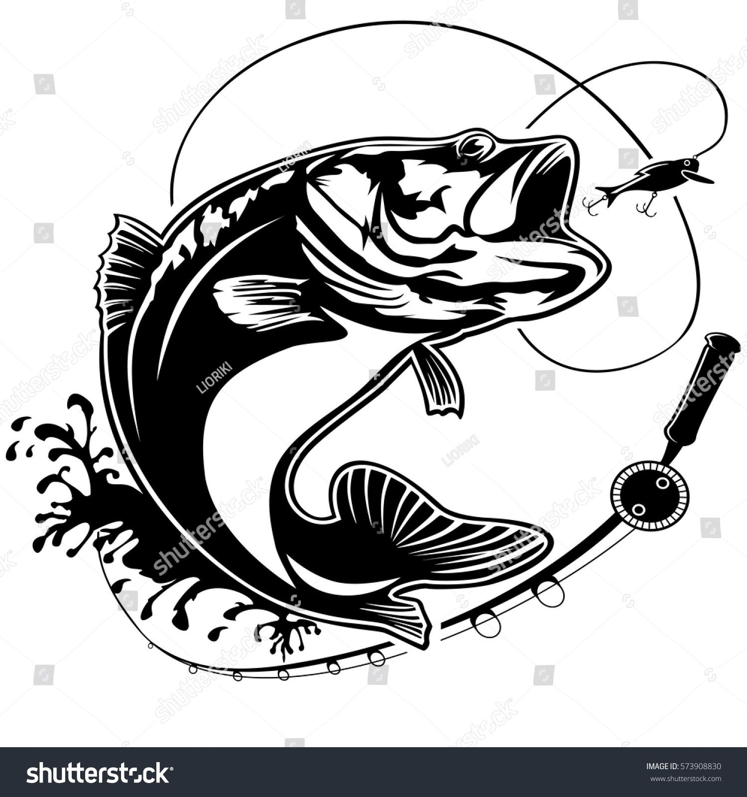 Fishing logo. Bass fish club emblem. Fishing theme vector.