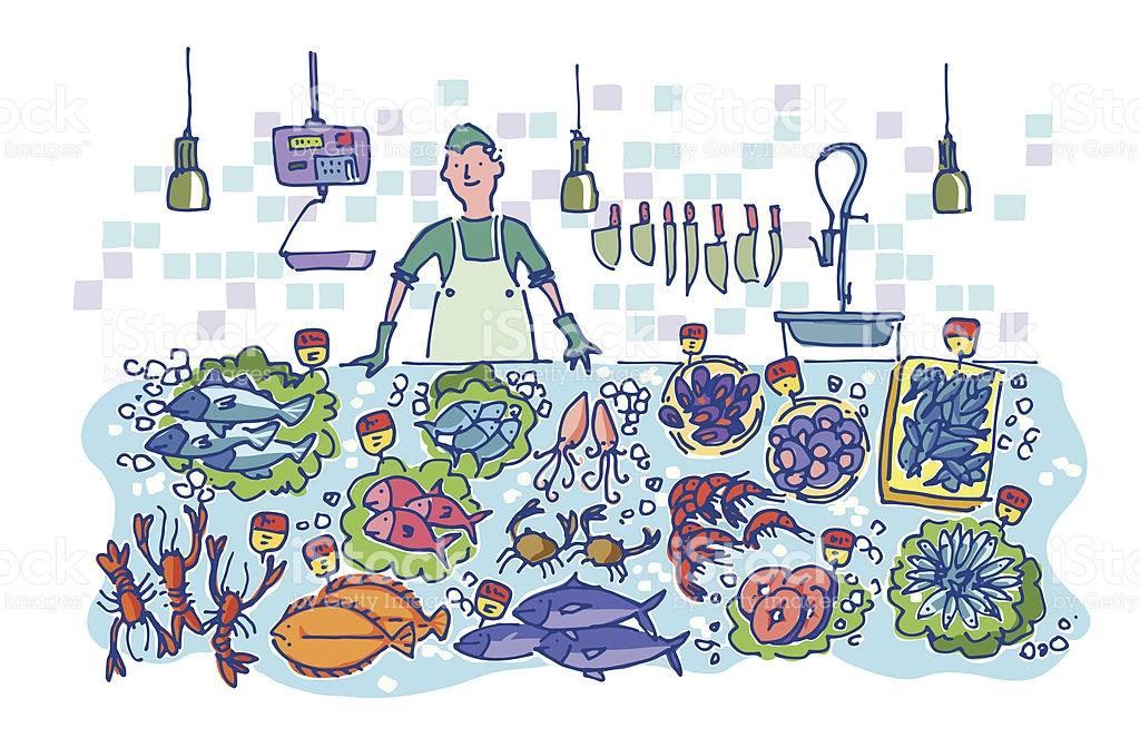 Fish Market Clip Art, Vector Images & Illustrations.