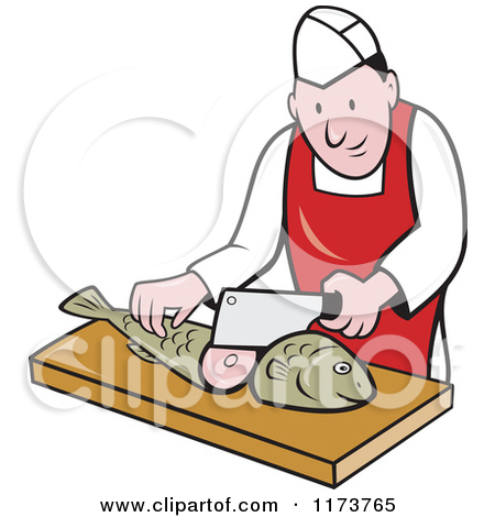 Clipart of a Retro Fishmonger in a Market Circle.