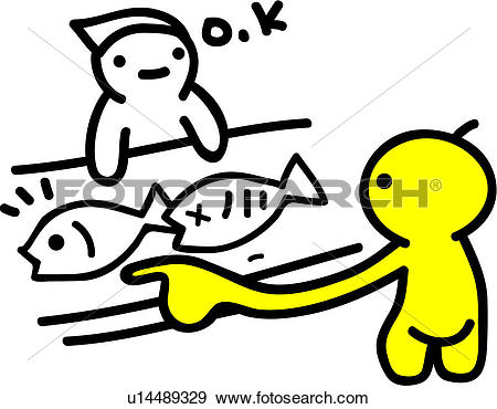 Clip Art of choice, fish, choosing, grocery, pointing, fish market.