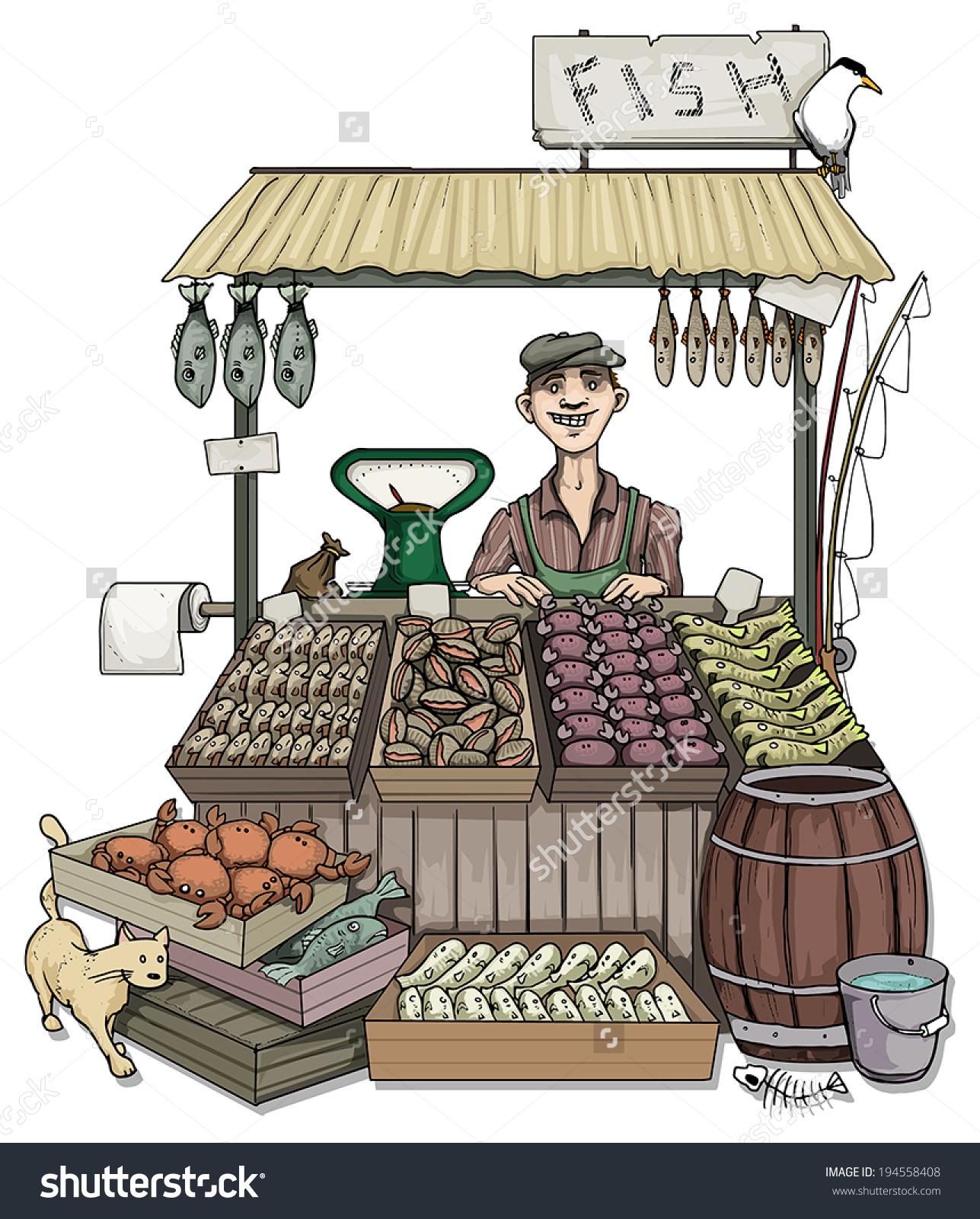 Man Selling Fish Outdoors Market Vector Stock Vector 194558408.