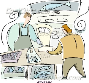 fish market Vector Clip art.