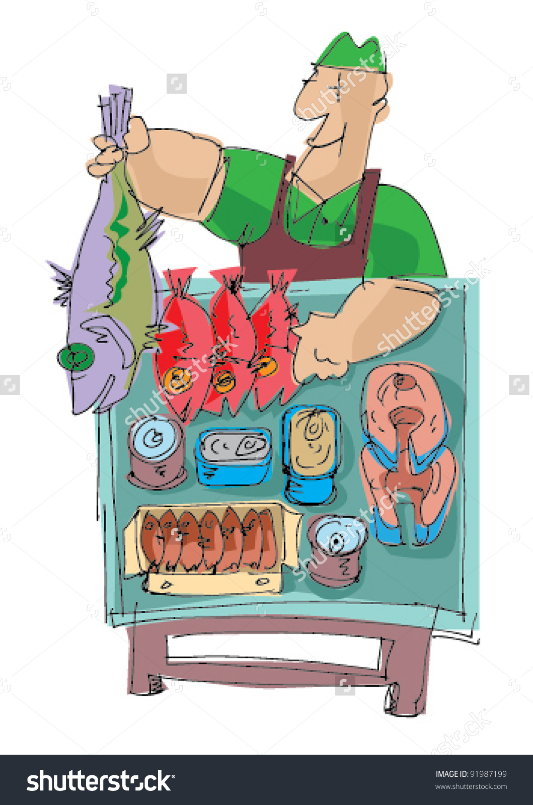 Fish Market Cartoon Stock Vector 91987199.