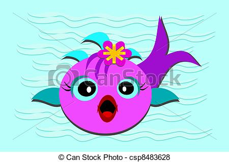 Vector of Fish Baby with Opened Mouth.
