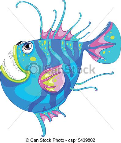 Vector Clipart of A colorful fish with a big mouth.
